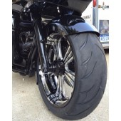 "18""x180mm tire, wrap fender and pointed slider covers."