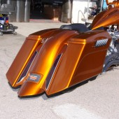PLEATED fender w black blade taillights. Shown with the Arlen Ness Down-n-Out saddlebags.